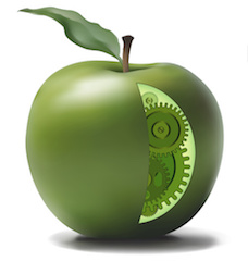 illustration of a green apple cut away to reveal gears inside