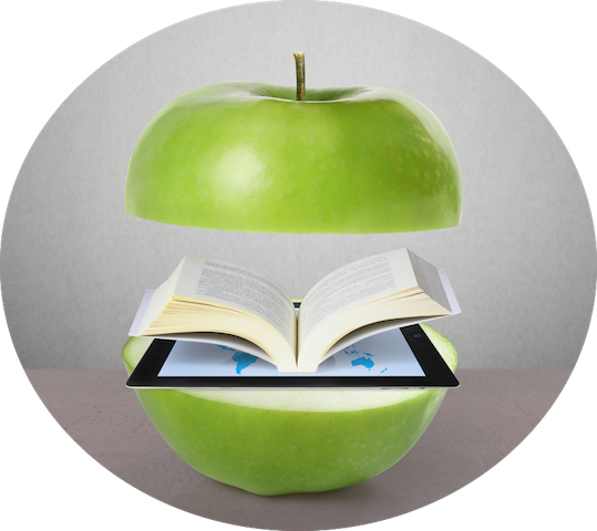 graphic of an apple cut in half, revealing an open book inside