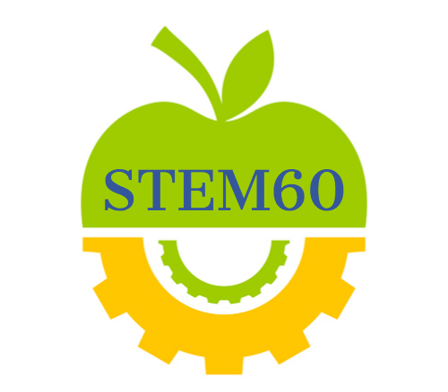 the STEM60 logo: a green apple cut in half to reveal gears